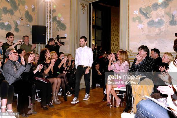 Linda Hardy and the public cheer Fashion Designer Alexis Mabille at the end of the the Alexis Mabille show as part of Paris Fashion Week Haute...
