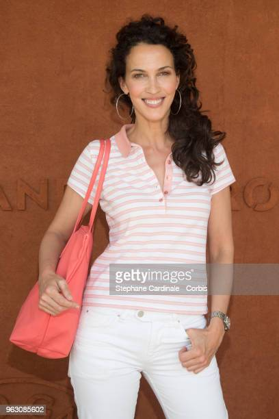 Linda Hardy attends the 2018 French Open Day One at Roland Garros on May 27 2018 in Paris France
