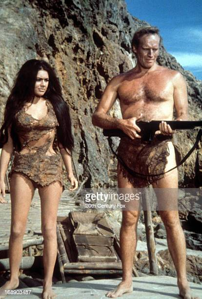 Linda Harrison and Charlton Heston flash back to the film during the television film 'Behind The Planet Of The Apes' 1998