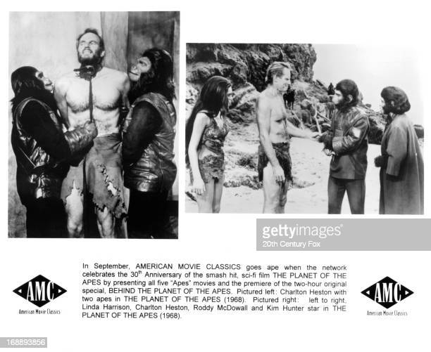 Linda Harrison, Charlton Heston, Roddy McDowall and Kim Hunter in various scenes from the film 'Planet Of The Apes', 1968.
