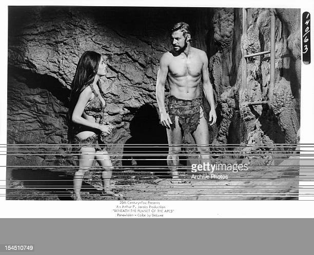 Linda Harrison looks to James Franciscus in a scene from the film 'Beneath The Planet Of The Apes' 1970