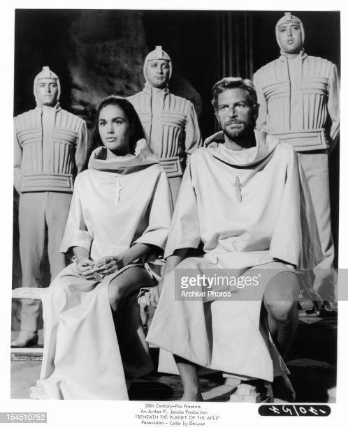 Linda Harrison sits next to James Franciscus in a scene from the film 'Beneath The Planet Of The Apes' 1970