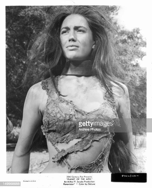 Linda Harrison wearing only rages in a scene from the film 'Planet Of The Apes' 1968