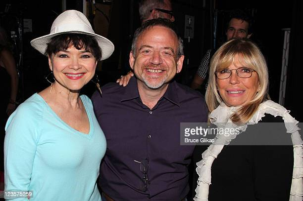 Linda Hart Marc Shaiman and Nancy Sinatra pose backstage at the hit musical Catch Me If You Can on Broadway at The Neil Simon Theater on June 3 2011...