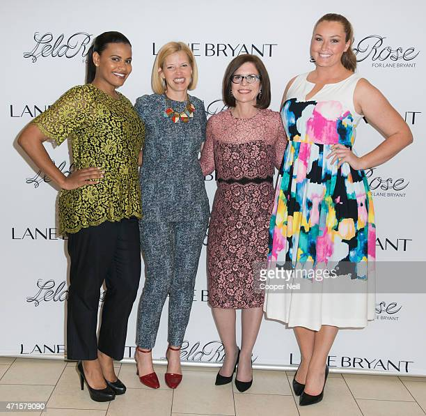 Linda Heasley and Lela Rose pose for a photo during an in store event at Lane Bryant with models wearing items from the new Lela Rose collection on...