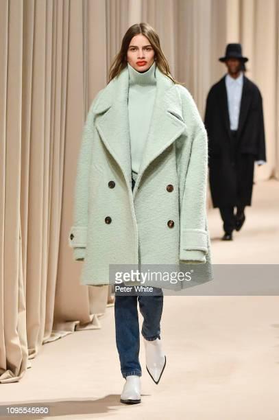 Linda Helena walks the runway during the Ami Alexandre Mattiussi Menswear Fall/Winter 20192020 show as part of Paris Fashion Week on January 17 2019...
