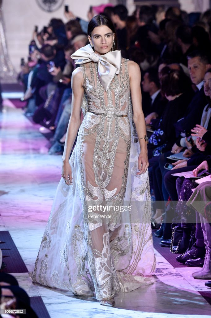 Linda Helena walks the runway during the Elie Saab Spring Summer 2018 show as part of Paris Fashion Week on January 24, 2018 in Paris, France.