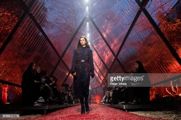 Linda Helena walks the runway during the Hermes show as part of the Paris Fashion Week Womenswear Fall/Winter 2018/2019 on March 3 2018 in Paris...