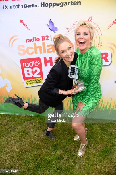 Linda Hesse and Inka Bause attend the Radio B2 SchlagerHammer OpenAirFestival at Rennbahn on July 15 2017 in Berlin Germany