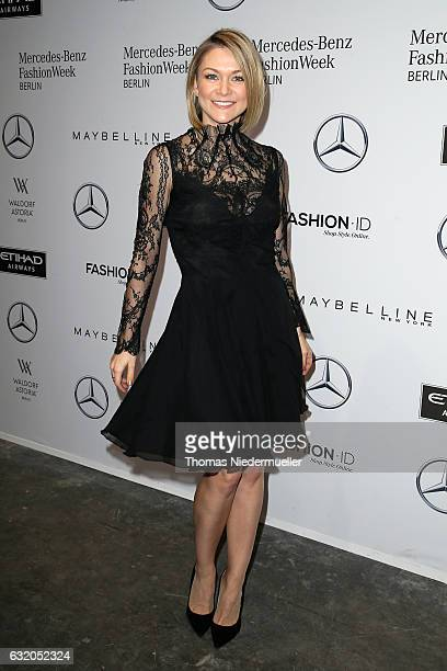 Linda Hesse attends the Ewa Herzog show during the MercedesBenz Fashion Week Berlin A/W 2017 at Kaufhaus Jandorf on January 19 2017 in Berlin Germany