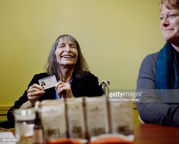 Linda Horan a New Hampshire resident with end stage lung cancer talks to media after purchasing medical marijuana products at Wellness Connection in...