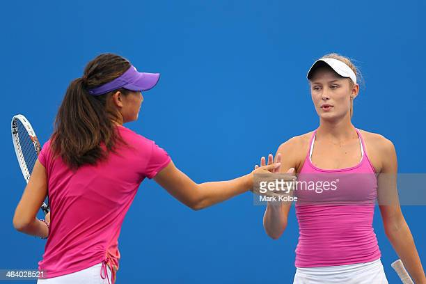 Linda Huang of Australia and Kaylah McPhee of Australia in action in their first round doubles match against Ziyue Sun of China and Ying Zhang of...