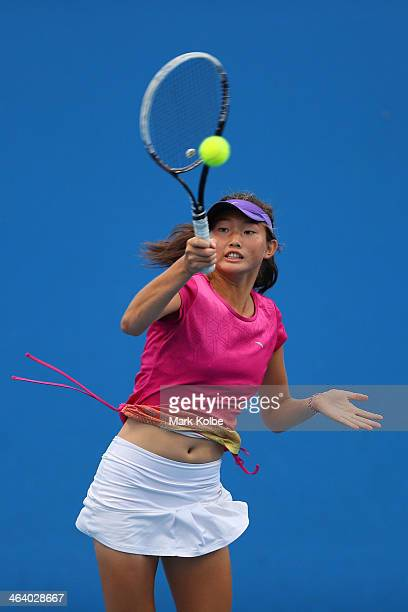 Linda Huang of Australia in action in her first round doubles match with Kaylah McPhee of Australia against Ziyue Sun of China and Ying Zhang of...