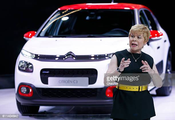 Linda Jackson chief executive officer of Citroen a unit of PSA Peugeot Citroen speaks on stage as he presents the new Citroen C3 automobile during...