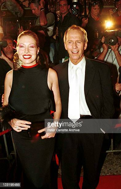 Linda Kozlowski and Australian actor Paul Hogan attend the world premiere of the film 'Crocodile Dundee in Los Angeles' at the State Theatre on April...