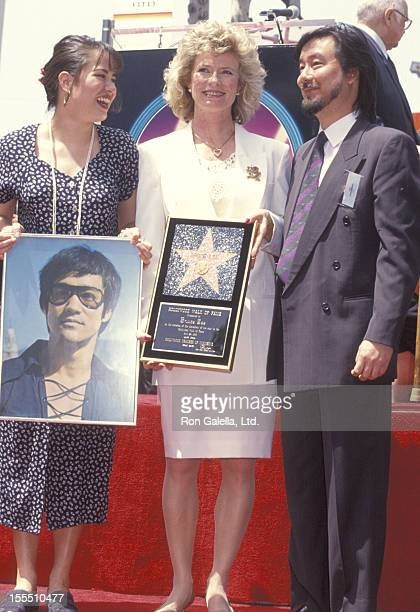 Linda Lee Caldwell daughter Shannon Lee and Robert Lee attend Hollywood Walk of Fame Star to Honor Bruce Lee on April 28 1993 at 6933 Hollywood...