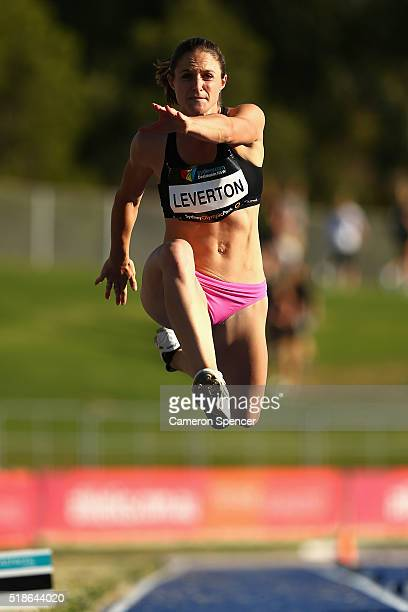 Linda Leverton of Queensland comepetes in the women's triple jump open during the Australian Athletics Championships at Sydney Olympic Park on April...