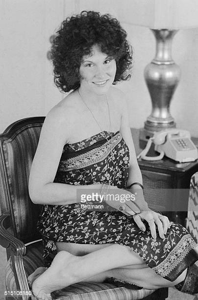 Linda Lovelace, is shown in her hotel room at the Hotel Plaza.