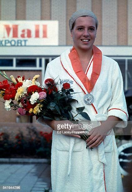 Linda Ludgrove of Great Britain after receiving the silver medal for the 100 metres backstroke at the European Swimming Championships in Utrecht...