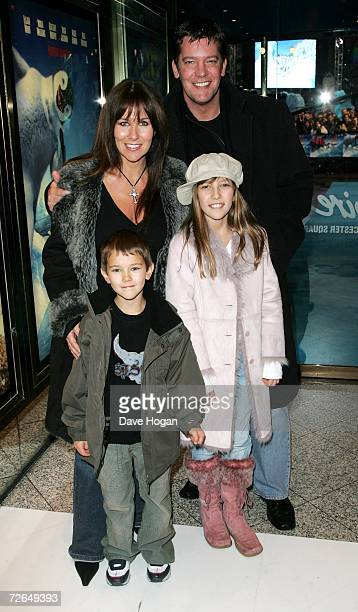 Linda Lusardi her husband actor Sam Kane and their children Jack and Lucy arrivs at the UK Premiere of Happy Feet at Empire Cinema Leicester Square...