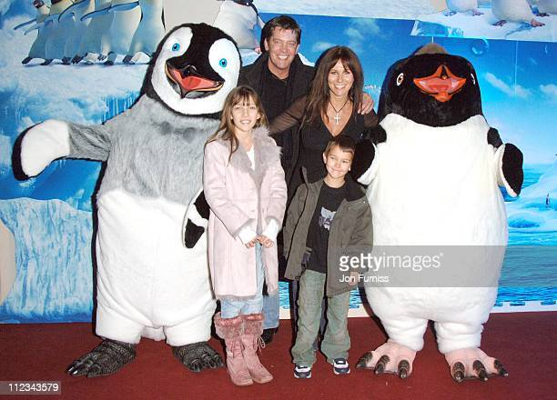 Linda Lusardi with her family during Happy Feet London Premiere After Party in London Great Britain