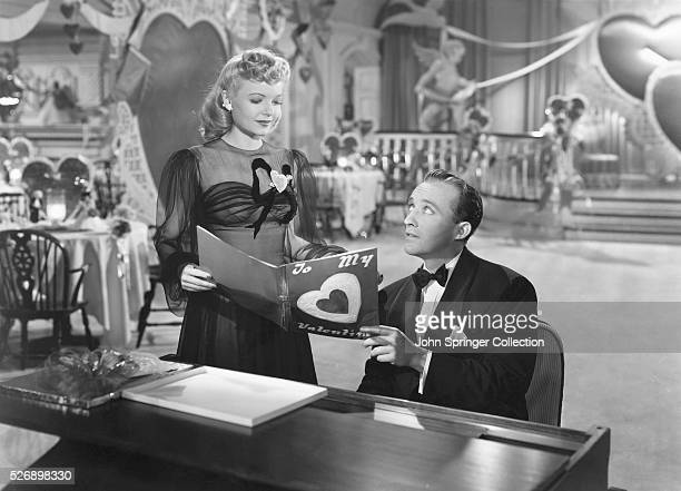 Linda Mason joins Jim Hardy at the piano to look at a Valentine in his nightclub the Holiday Inn in the 1942 musical Holiday Inn