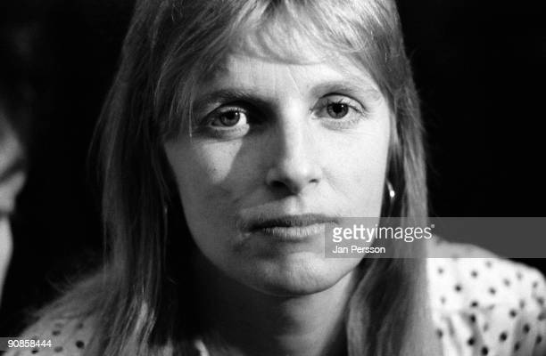 Linda McCartney of Wings poses backstage at Falkoner Theatre in Copenhagen on March 20th 1976 in Denmark