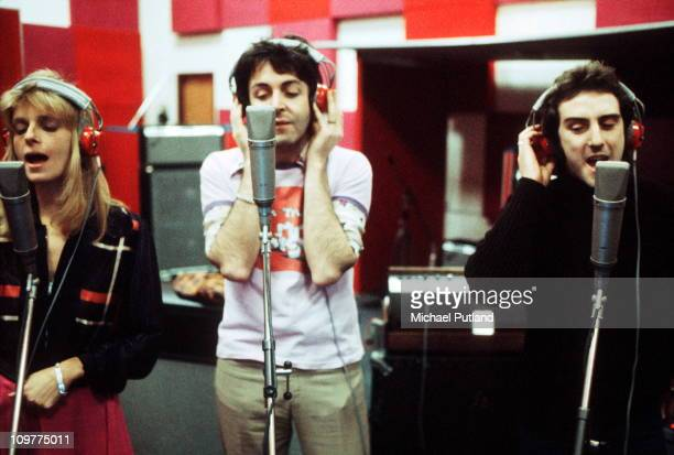 Linda McCartney Paul McCartney and Denny Laine of Wings recording in London England on 21st November 1973