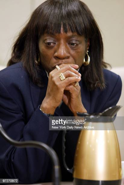 Linda McCray waits anxiously at Manhattan Supreme Court for a decision on the convictions of her son Antron McCray and four other men who had been...