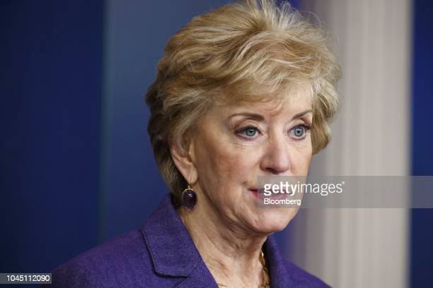 Linda McMahon, administrator of the Small Business Administration , speaks during a White House briefing in Washington, D.C., U.S., on Wednesday,...