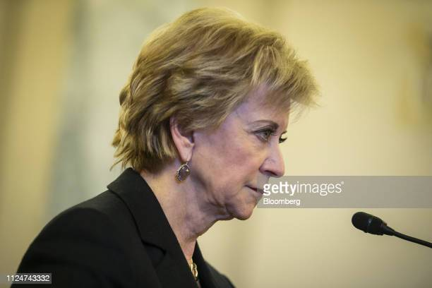 Linda McMahon, administrator of the Small Business Administration , testifies during a Senate Small Business Committee oversight hearing on Capitol...