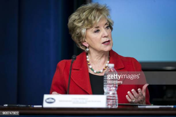 Linda McMahon administrator of the Small Business Administration speaks during a 'Conversations with the Women of America' event at the Eisenhower...