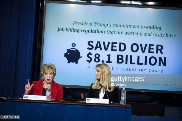 Linda McMahon administrator of the Small Business Administration speaks while Ivanka Trump assistant to US President Donald Trump right listens...