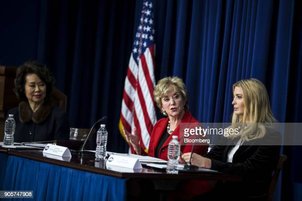 Linda McMahon administrator of the Small Business Administration center speaks while Ivanka Trump assistant to US President Donald Trump right and...
