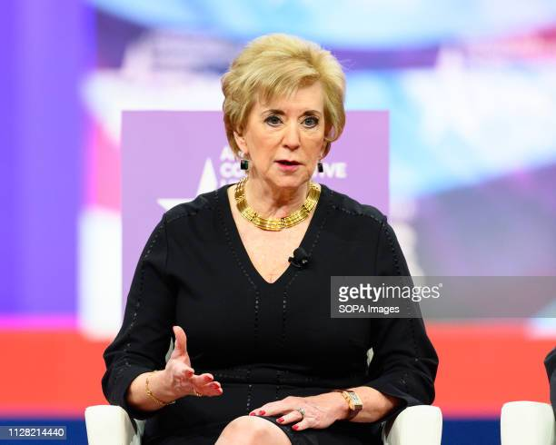 Linda McMahon, Administrator of the Small Business Administration, seen speaking during the American Conservative Union's Conservative Political...