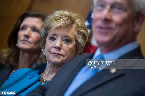 Linda McMahon center administrator of the US Small Business Administration and Sen Roger Wicker RMiss attend a news conference in Dirksen Building on...