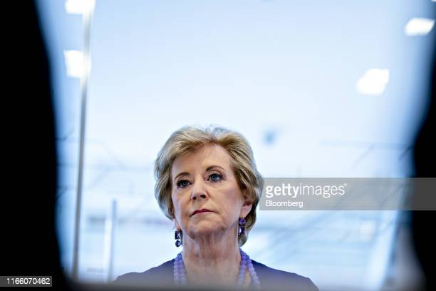 Linda McMahon, former administrator of the U.S. Small Business Administration, pauses while speaking during an interview in Washington, D.C., U.S.,...