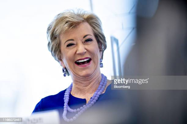 Linda McMahon, former administrator of the U.S. Small Business Administration, smiles during an interview in Washington, D.C., U.S., on Thursday,...