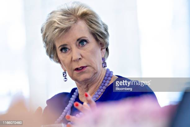 Linda McMahon, former administrator of the U.S. Small Business Administration, speaks during an interview in Washington, D.C., U.S., on Thursday,...
