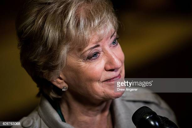 Linda McMahon, former CEO of World Wrestling Entertainment , speaks to reporters at Trump Tower, November 30, 2016 in New York City. President-elect...