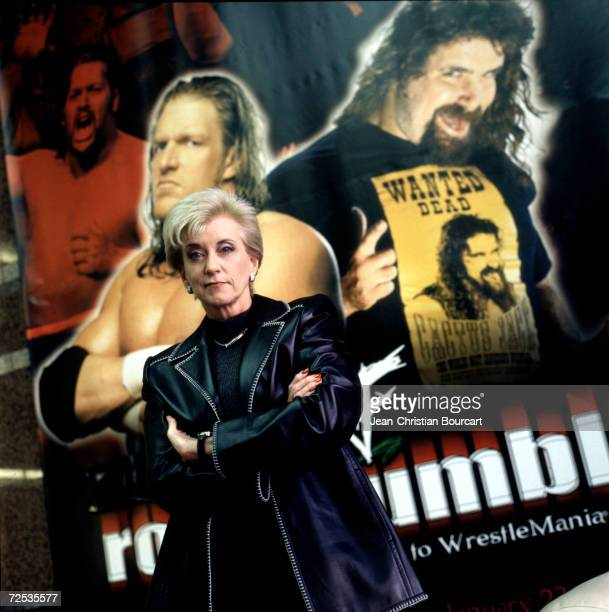 Linda McMahon, President and CEO of the World Wrestling Federation poses for a portrait with the federation posters in the background,December 12,...