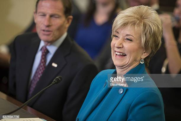 Linda McMahon Small Business Administration administrator nominee for US President Donald Trump laughs during a Senate Small Business Committee...