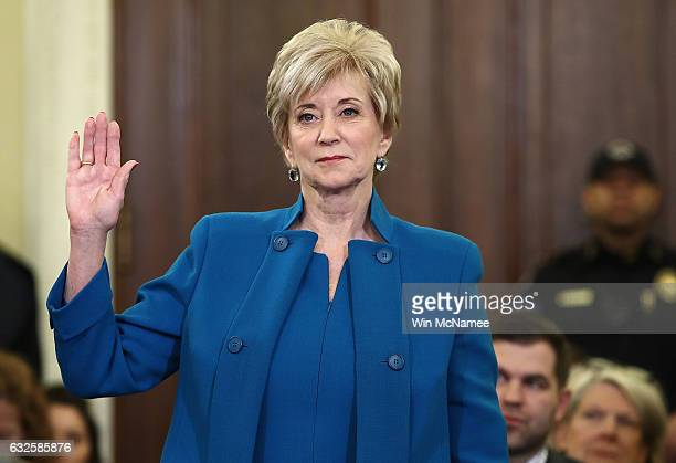 Linda McMahon, U.S. President Donald Trump's nominee to be administrator of the Small Business Administration, is sworn in prior to testimony before...