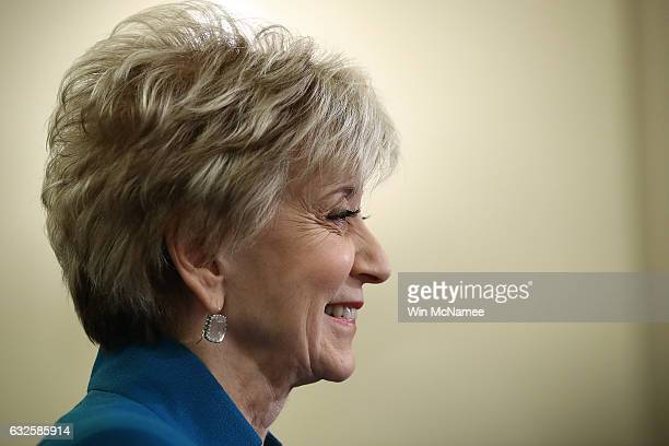 Linda McMahon, U.S. President Donald Trump's nominee to be administrator of the Small Business Administration testifies before the Senate Small...