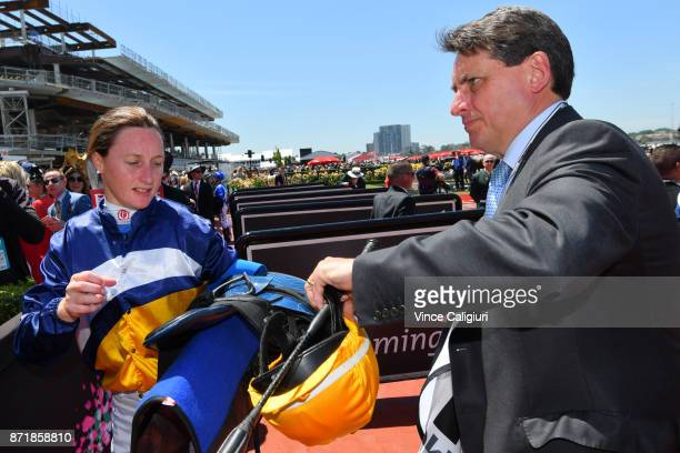Linda Meech after riding Linguist has her weight checked by Chief steward Terry Bailey after Race 1 Drink Wise Plate on 2017 Oaks Day at Flemington...