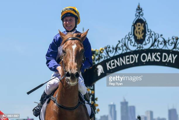 Linda Meech returns to the mounting yard aboard Linguist after winning the DrinkWise Plate at Flemington Racecourse on November 09 2017 in Flemington...