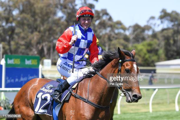 Linda Meech returns to the mounting yard on Oasis Girl after winning the BRB Electrical 3YO BM64 Handicap ,at Bendigo Racecourse on October 30, 2019...