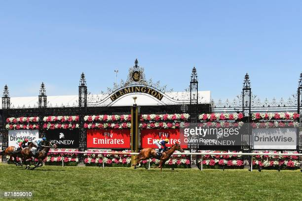 Linda Meech rides Linguist to win race 1 the DrinkWise Plate on 2017 Oaks Day at Flemington Racecourse on November 9 2017 in Melbourne Australia