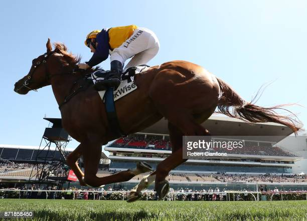 Linda Meech rides Linguist to win race one the DrinkWise Plate on 2017 Oaks Day at Flemington Racecourse on November 9 2017 in Melbourne Australia