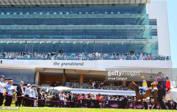 Linda Meech riding Linguist after winnning Race 1 Drink Wise Plate on 2017 Oaks Day at Flemington Racecourse on November 9 2017 in Melbourne Australia